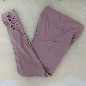 Pants - Active Leggings with Side Mesh - Mauve